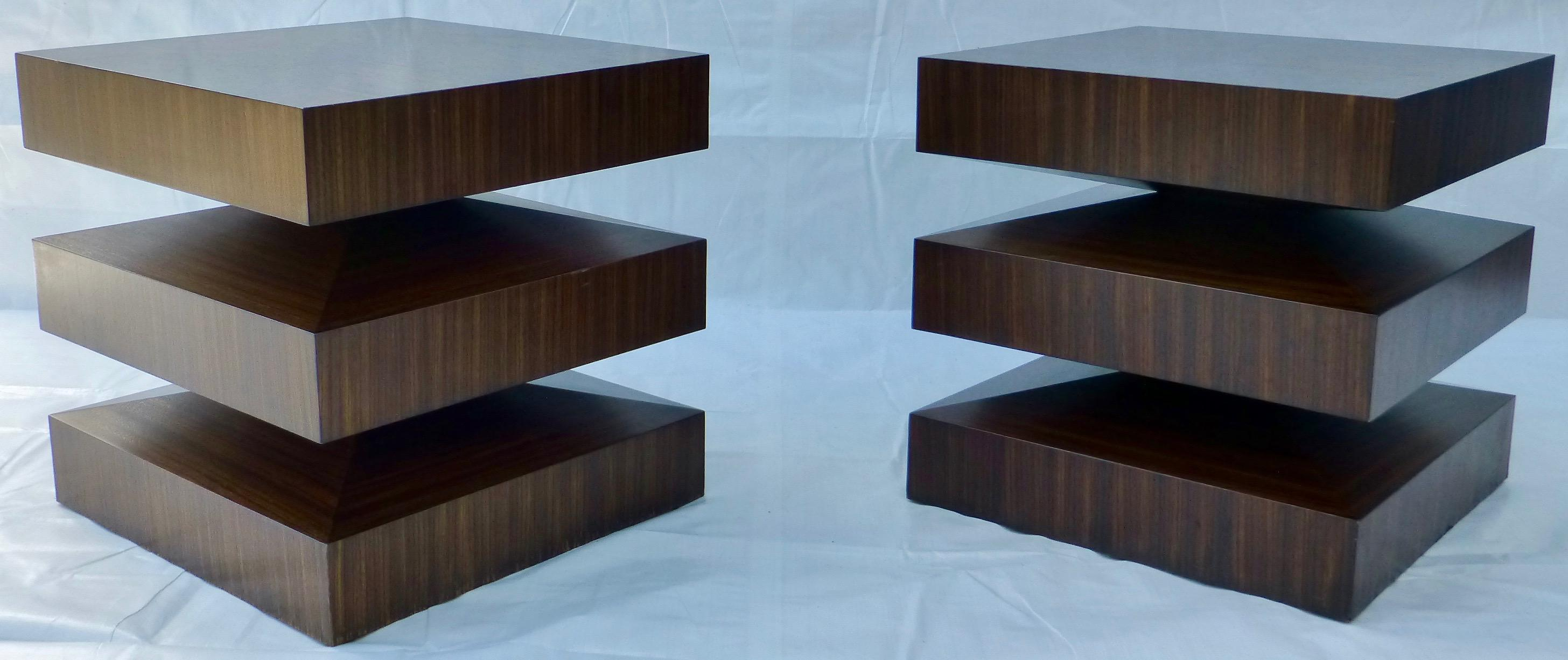 Danish Modern Cubist Stacked Rosewood End Tables  A Pair   Image 11 Of 11