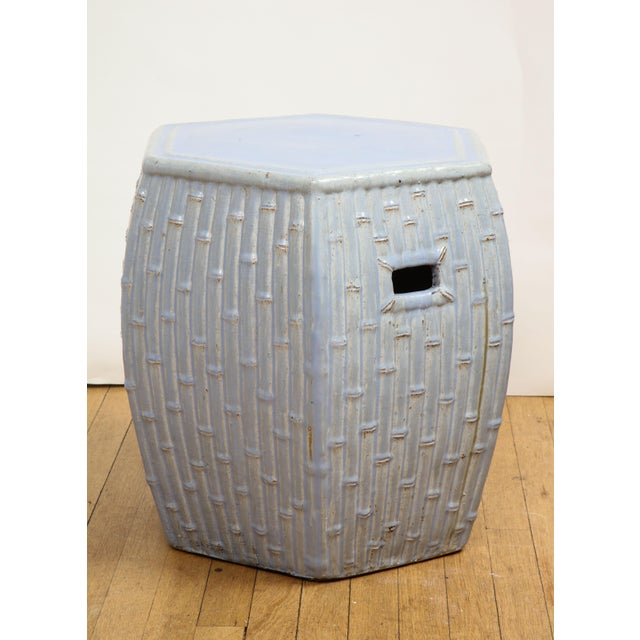 Off-white Faux Bamboo Garden Stools - A Pair For Sale - Image 8 of 13
