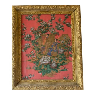 Antique Japanese Painting on Coral Rice Paper Framed For Sale