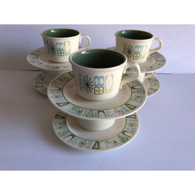 """Ceramic Midcentury Starburst Design """"Cathay """" Taylor Smith & Taylor Teacups and Saucers S/6 For Sale - Image 7 of 7"""