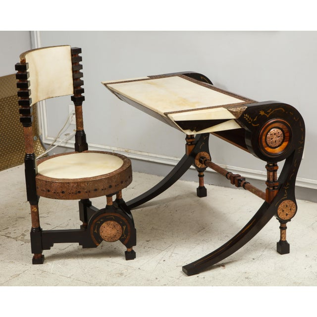 Carlo Bugatti-Style Writing Desk with Chair For Sale In New York - Image 6 of 12