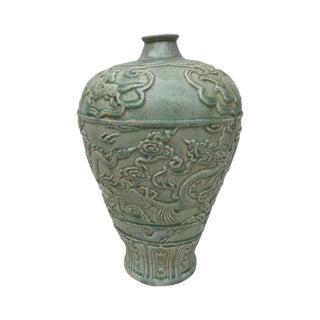 Celadon Mystical Large Dragon Vase For Sale