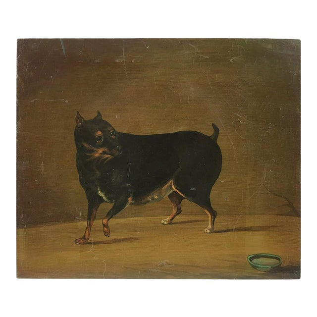 """""""Playful Toy Rottweiler"""" Vintage Metal Panel Painting For Sale"""