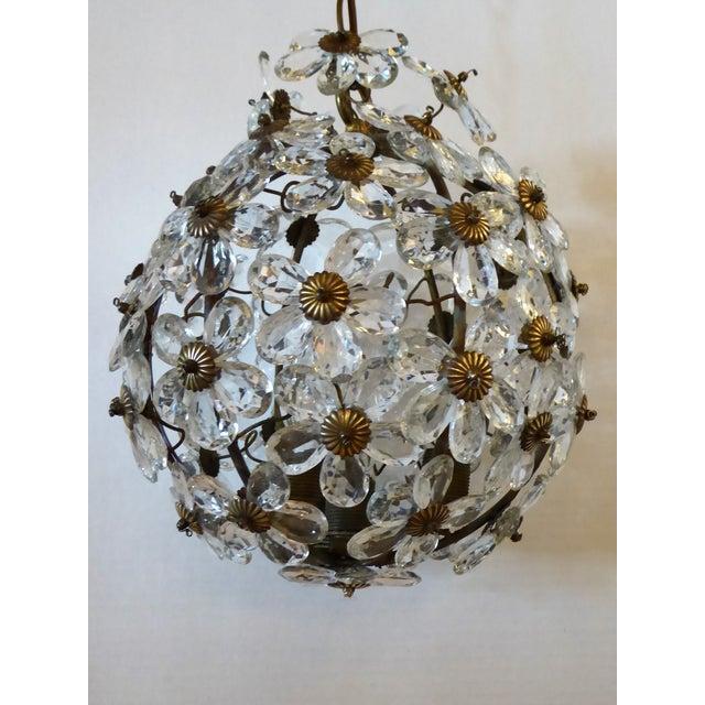 Hollywood Regency Maison Baguès Floral Crystal Ball Form Chandelier, 1920s For Sale - Image 3 of 12