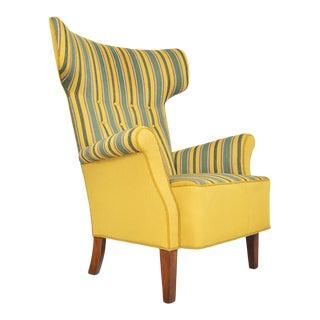 Danish Modern Green Striped Wingback Lounge Chair