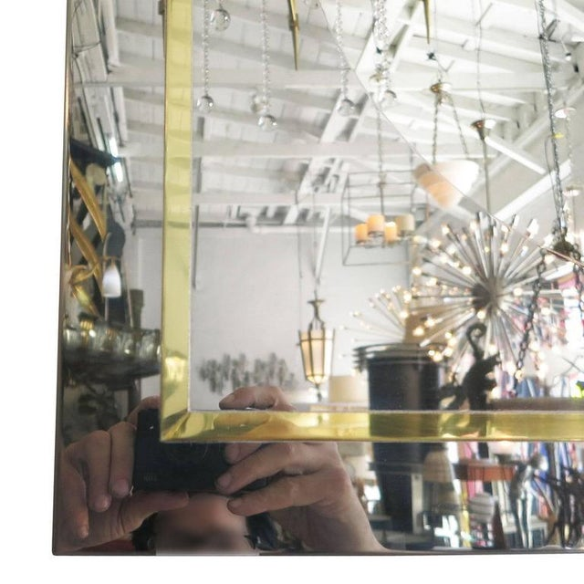 Mid-Century Modern Mirror in Brass and Chrome Port Hole Frame by C. Jeré - 50th Anniversary Sale For Sale - Image 3 of 4