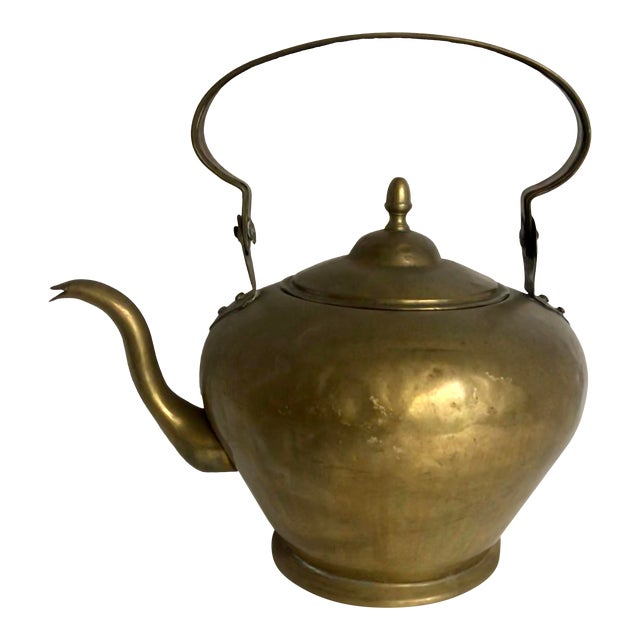 Antique Brass Handled Teapot For Sale