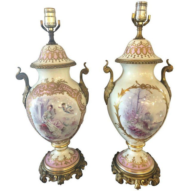Bronze Mounted French Porcelain Serves Urns Converted into Table Lamps - a Pair For Sale - Image 11 of 12