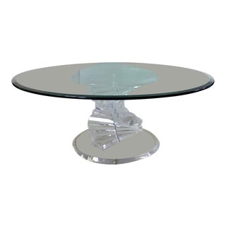 1970s Hollywood Regency Lucite Stacked Spiral Coffee Table For Sale
