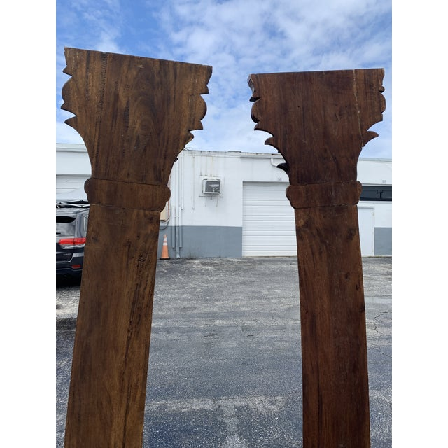 Antique Corinthian Style Carved Mahogany Columns - a Pair For Sale - Image 9 of 13