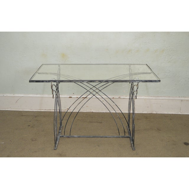 Art Deco Vintage Studio Wrought Iron Glass Top Patio Console Table For Sale In Philadelphia - Image 6 of 13