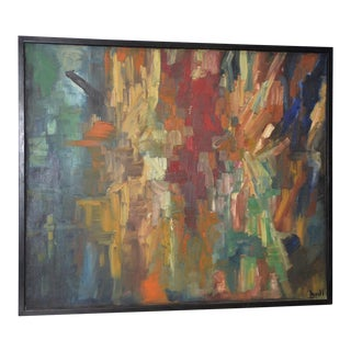Mid Century Modern Abstract Oil Painting For Sale