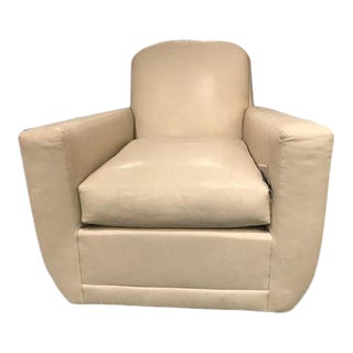 Knox Beige Leather Swivel Club Chair For Sale