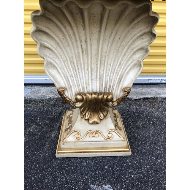 White Hollywood Regency Shell Console Table For Sale - Image 8 of 11