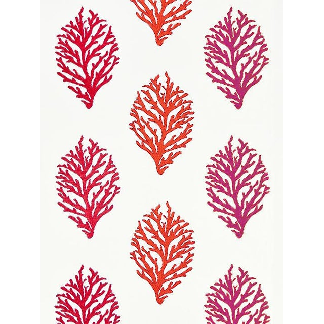 Transitional Scalamandre Coral Reef Embroidery, Passion Fruit Fabric For Sale - Image 3 of 3