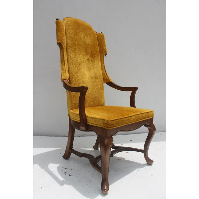 Jim Peed For Drexel Brass Final Accent Tall Wingback Chair - Image 3 of 11