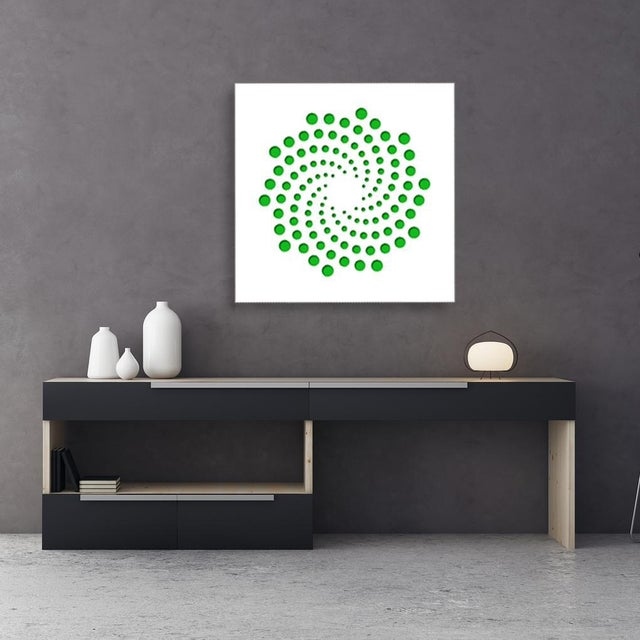 Artist: Chuck Krause (1949) Title: Spirals (Green) Year: 2020 Medium: Sculpted composite board mounted to colored...