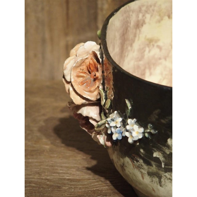 Traditional Circa 1880 Edouard Gilles Barbotine Jardiniere From France For Sale - Image 3 of 13