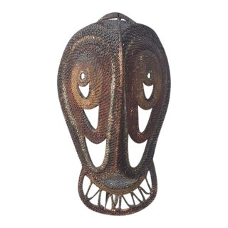 Raffia Mask on Stand For Sale
