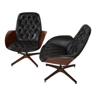 1960s Danish Modern George Mulhauser for Plycraft Black Vinyl Tufted Reclining Lounge Chairs - a Pair