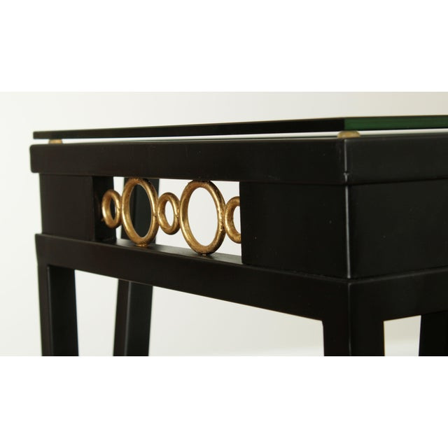 Black Hollywood Regency Style Black & Gold Glass Top Console Table For Sale - Image 8 of 13