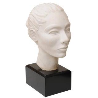 Italian Plaster of Paris Head Sculpture on Black Wood Base Vintage 60's