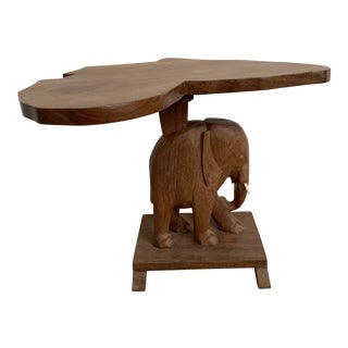 Vintage Nigerian Carved Wood Elephant Africa Occasional Table For Sale