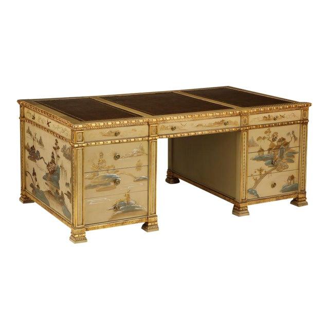 Chinoiserie Hand-Painted Parcel Gilt Partners Pedestal Desk For Sale