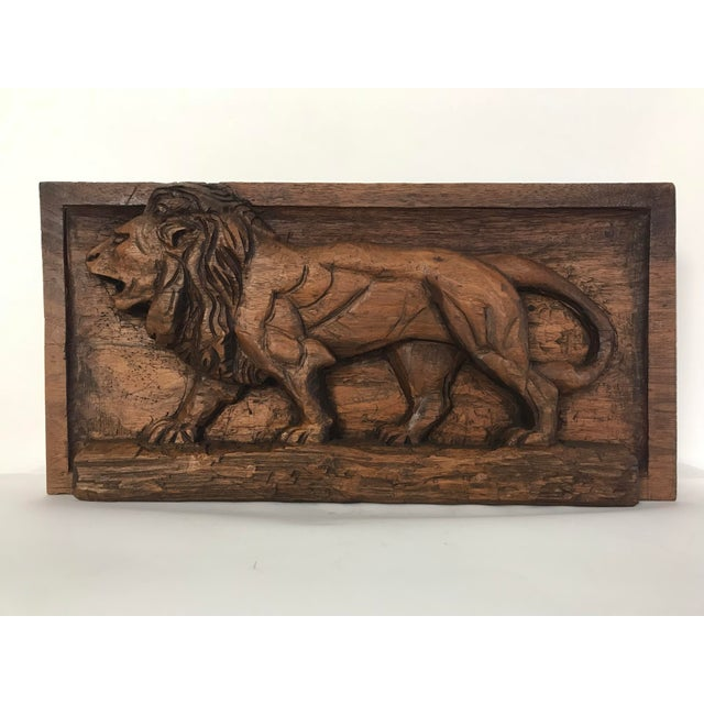 Folk Art Carved Relief Plaque of a Lion For Sale - Image 9 of 9