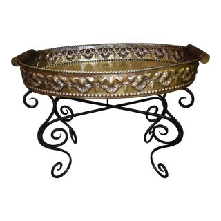 Vintage Ornate Brass Tray Top Table with a Wrought Iron Base For Sale