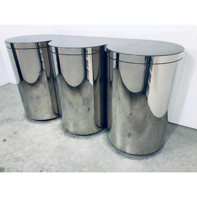 Contemporary Paul Evans Mirror Polished Steel Cylinder Sideboard For Sale - Image 3 of 13