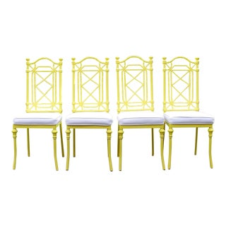 20th Century Chippendale Yellow Painted Iron Dining Chairs - Set of 4