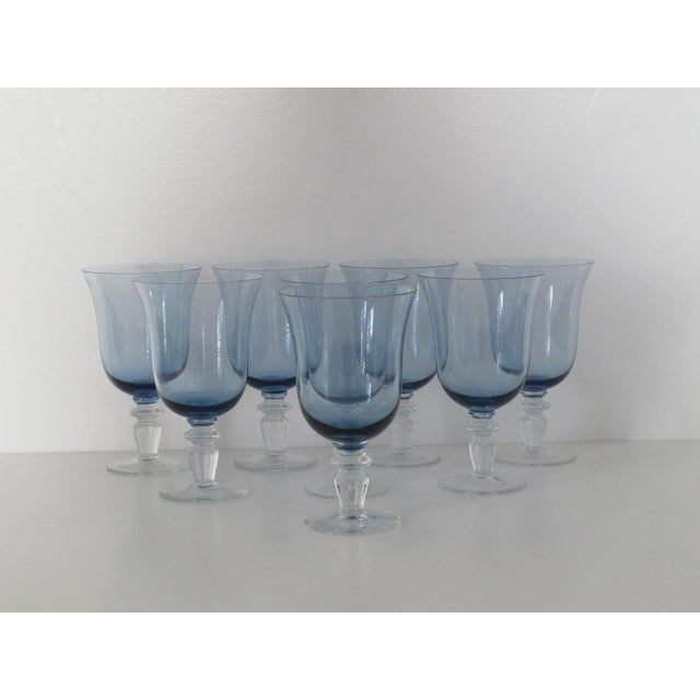 Blue Glass Goblets - Set of 8 - Image 3 of 5