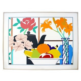 Contemporary Large Framed Still Life Petunia Litho by Wesselmann 52/100 1988 For Sale