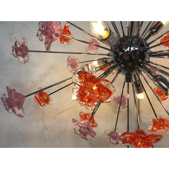 Metal Contemporary Murano Glass Flowers Sputnik Chandelier For Sale - Image 7 of 12