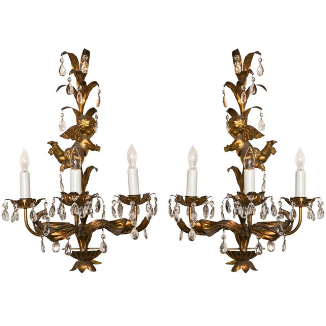 Gold French Gilt-Brass 3-Light Wall Sconces - A Pair For Sale - Image 8 of 8