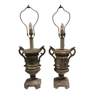Italian Silvered Wood Urn Lamps - A Pair For Sale