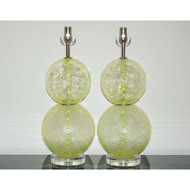 Hollywood Regency Vintage Murano Glass Ball Table Lamps Lime Green For Sale - Image 3 of 10