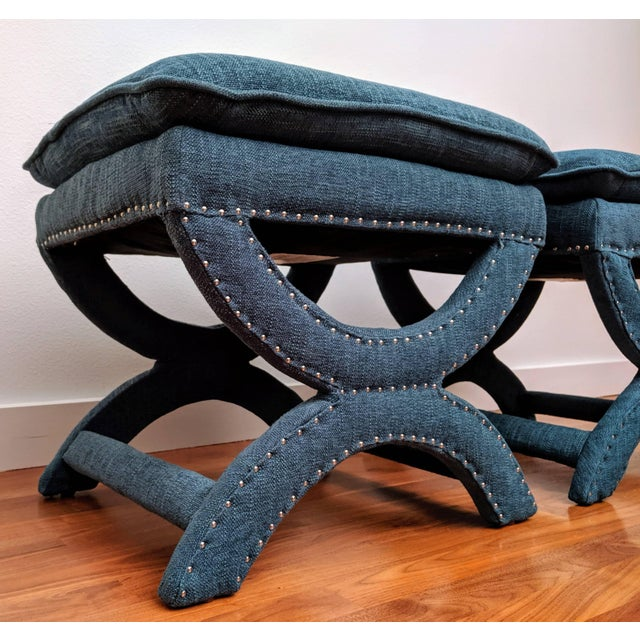 2010s Regency-Style Sculptural Ottomans, a Pair For Sale - Image 5 of 8