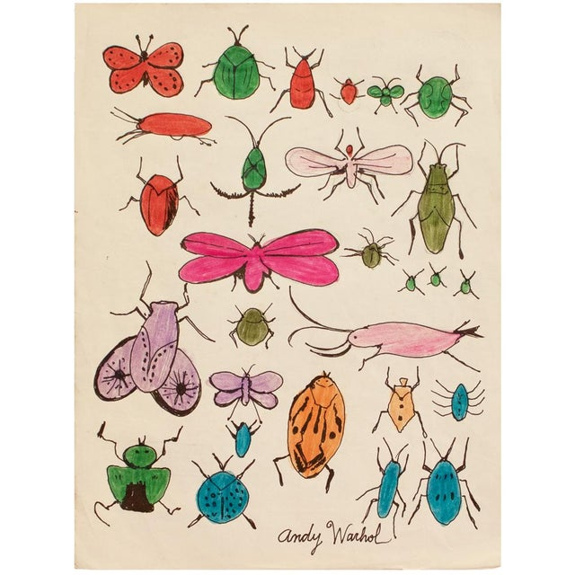 "Andy Warhol ""Happy Bug Day!"", Original Large Drawing, Signed and Sealed For Sale - Image 9 of 9"