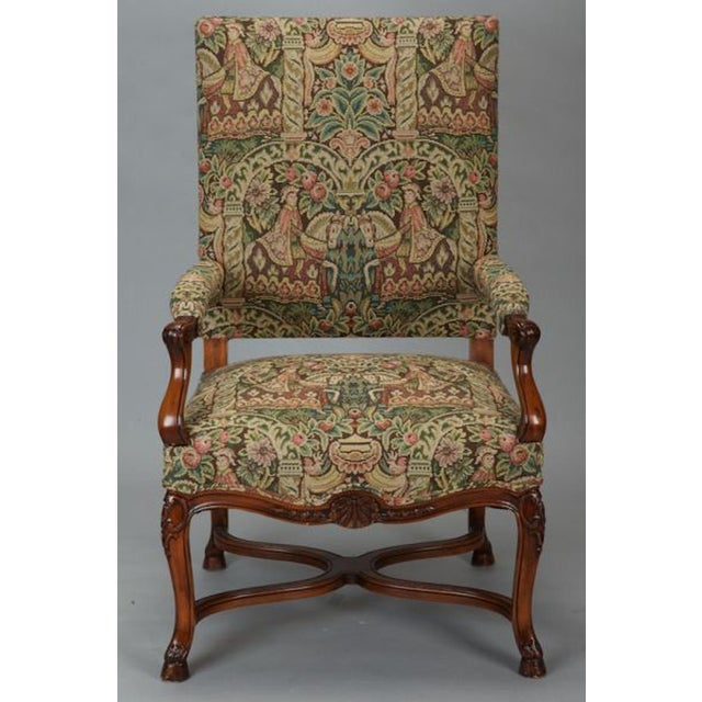 French 19th Century Bergere Covered In Old World-Style Tapestry - Image 6 of 8