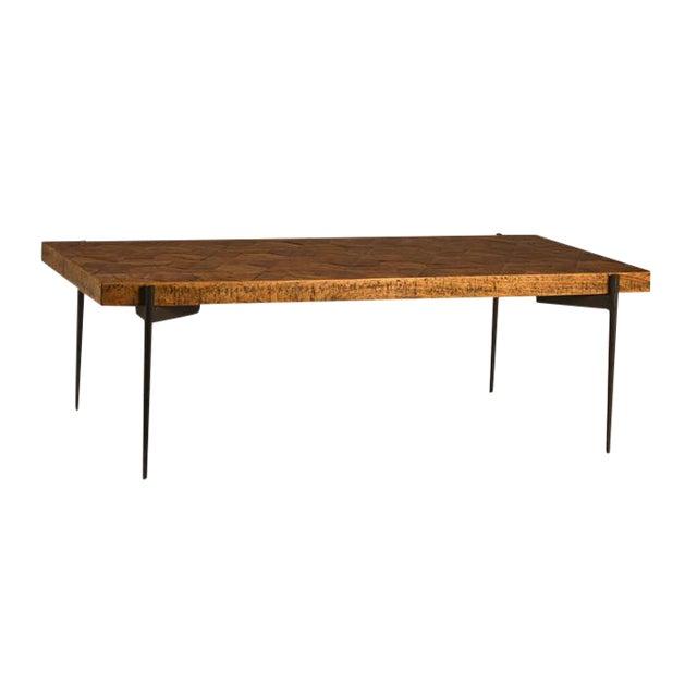 Inlay Hexagon Wood Coffee Table Chairish - Hexagon wood coffee table