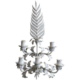 Large White Hollywood Regency Iron Wall Sconce For Sale