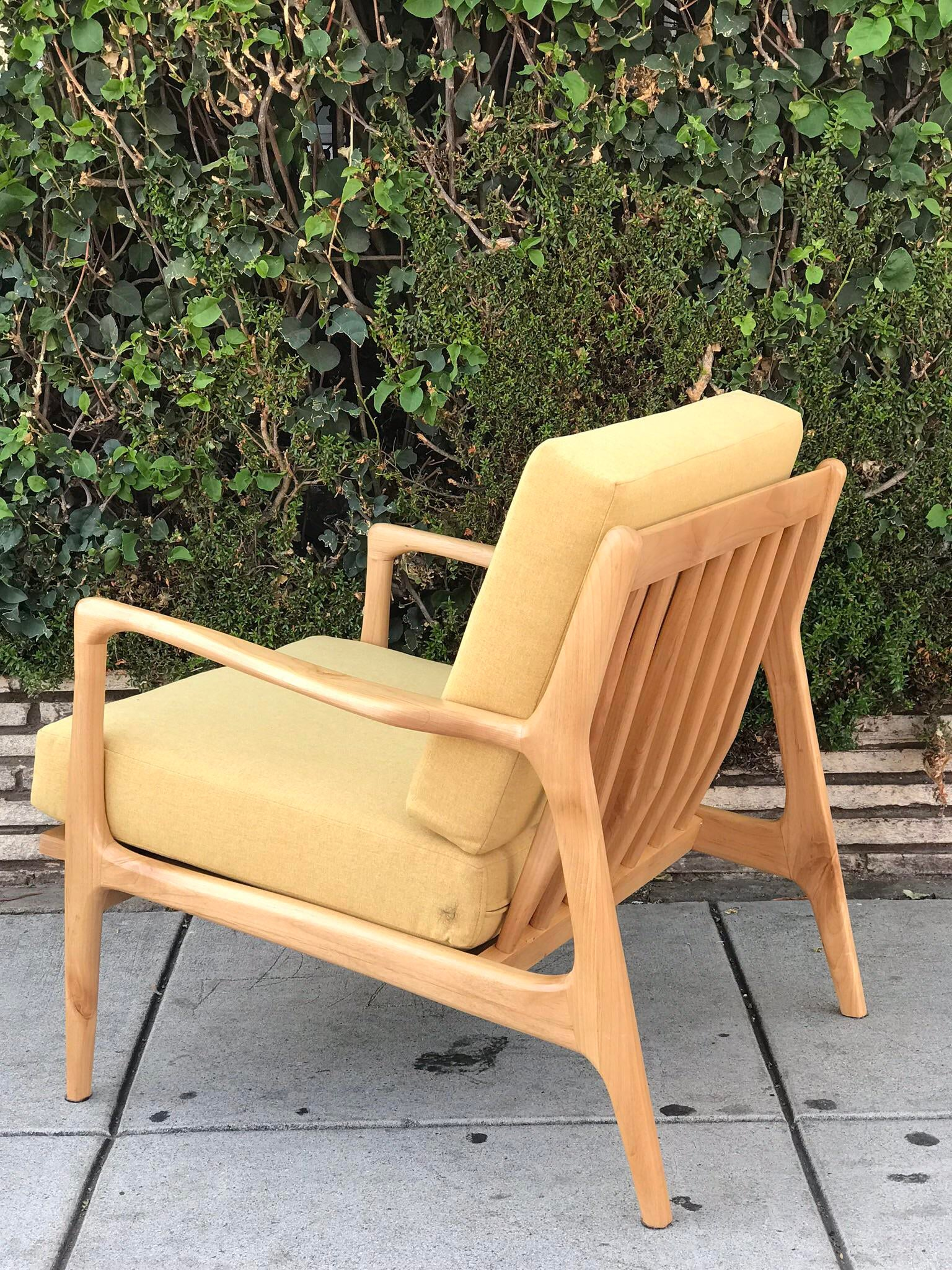 Yellow Custom Mid Century Solid Walnut Accent Chair For Sale   Image 8 Of 13
