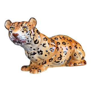 Vintage Hollywood Regency Italian Ceramic Leopard Figurine For Sale