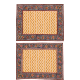Dragonfly Chevron Placemats Mustard Yellow - A Pair For Sale