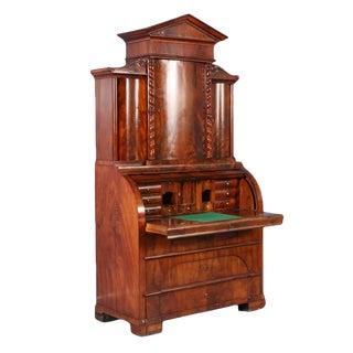 Antique 19th Century Danish Biedermeier Mahogany Cylinder Secretary Desk For Sale