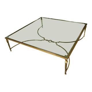 Gilt Metal and Glass Coffee Table For Sale