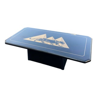Vintage Postmodern Black Lacquered Gold Pyramids and Panther Coffee Table For Sale