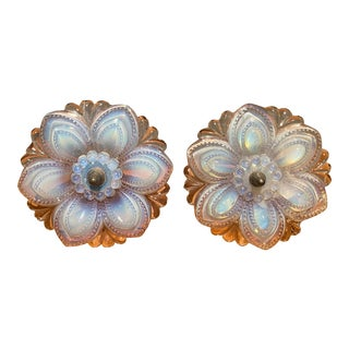 Large 19th Century Boston & Sandwich Glass Fiery Opalescent Glass Tie Backs - a Pair For Sale